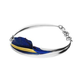 Bransoleta tytanowa falowany liść boczny niebieska OR F-B kalia boczna fala próba 925