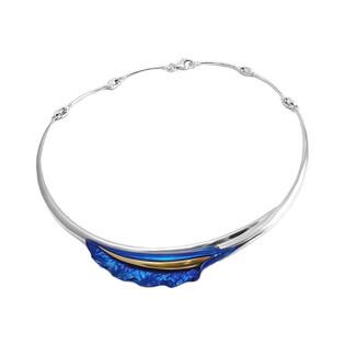 Naszyjnik tytanowy falowany liść boczny niebieski OR F-NM kalia boczna fala próba 925
