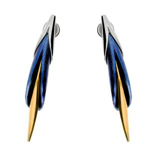 Kolczyki tytanowe liść zamknięty sztyft OR M-EM kalia zamknięta próba 925