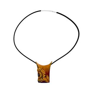 Naszyjnik słoneczniki na płytce/rzemyk AG ARTIS A.Głodowski 331 próba 925