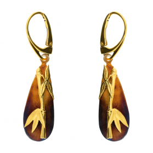 Kolczyki bambus gold na owalu AG ARTIS A.Głodowski 513 próba 925