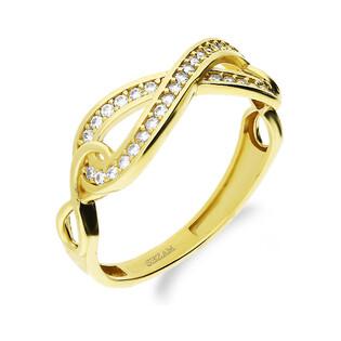 Pierścionek złoty infinity z cyrkoniami PY YYZ1196 próba 375