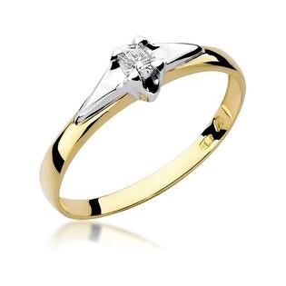 Złoty pierścionek z diamentem UNICO BE W-088 próba 585 Sezam - 1