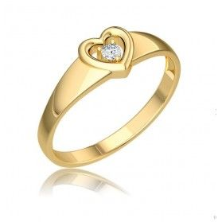 Pierścionek zaręczynowy z diamentem motyw SERCE BE W-001 próba 585 Sezam - 1