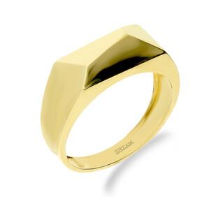 Sygnet złoty prostokąt ścinany blask PY P08R0035 próba 375