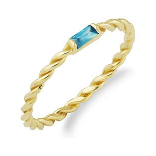 Pierścionek RINGS skręcona szyna z niebieską cyrkonią PY RYZ0059 próba 375