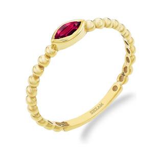 Pierścionek RINGS bead z czerwoną cyrkonią PY YYZ0821 próba 375