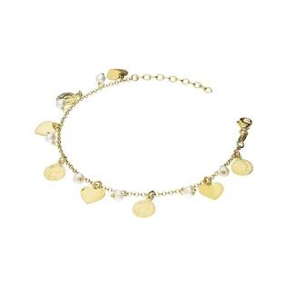 Bransoleta perła b 4mm+monety wisz+serca wi PW 249 gold próba 925
