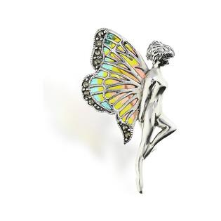 Broszka srebrna kobieta ze skrzydłami z witrażem nr SR 240 Sezam - 1