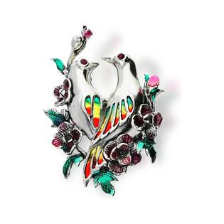 Broszka srebrna ptaszki z kwiatami nr SR 237 Sezam - 1