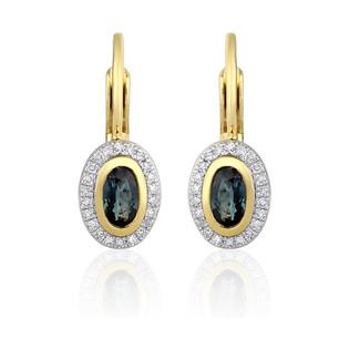 Kolczyki z szafirem i diamentami nr AW 46623 YW-SA owal Markiza próba 585