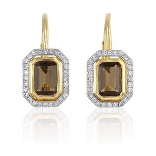 Kolczyki złote z diamentami i kwarcem dymnym nr AW 36151 Y-SM