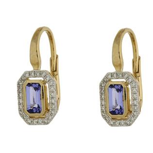 Kolczyki złote z tanzanitem i diamentami AW 36151 Y-TA