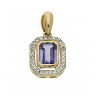 Zawieszka złota tanzanitem i diamentami AW 36151 Y-TA