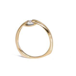 Pierścionek zaręczynowy obrączkowy z diamentem nr A9 553D satyna próba 585 ETERNO