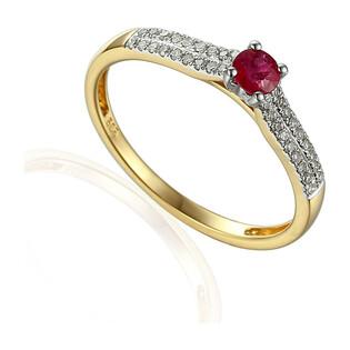 Pierścionek zaręczynowy z rubinem i diamentami nr AW 30607 YW-RU okr.Line 2r próba 585