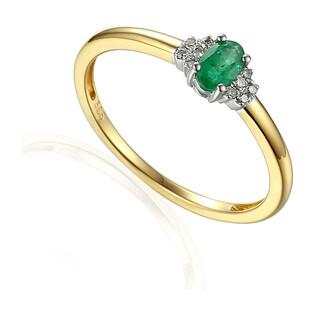 Pierścionek zręczynowy z szmaragdem i diamentami nr AW 30617 YW-EM owal próba 585
