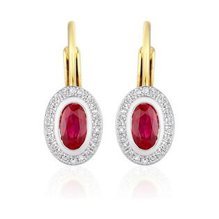Kolczyki złote z rubinem w towarzystwie diamentów nr AW 46623 YW-RU