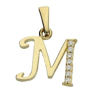 Literka złota M nr ZQM cyrkonie próba 585