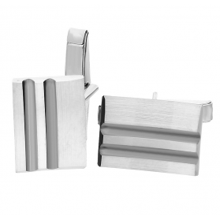 Spinki do mankietów srebrne prostokąt z czarnymi paskami nr. AT SP034 próba 925