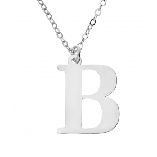 Naszyjnik srebrny literka B nr. AT204-B ROD próba 925