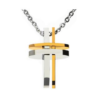 Naszyjnik krzyż prosty blask+cyrkonia/rolo IT 1969
