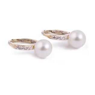 Kolczyki złote z perłą i cyrkoniami OS 96-0558-9-BO próba 585 Sezam - 1