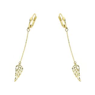 Kolczyki złote skrzydło ażur na łańcuszku/dł.big nr S3 MLE-1052-1 próba 585