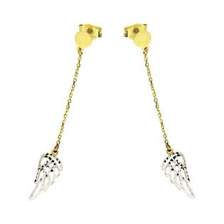 Kolczyki złote skrzydło ażur na łańcuszku nr S3 MLE-1052 próba 585