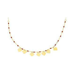 Naszyjnik złoty z koralikami i zawieszkami w kształcie nr PW PGL139G-1-czerwone próba 585