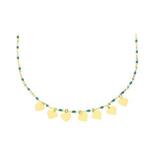Naszyjnik złoty z kulkami turkusowymi z sercami wiszącymi x7/rolo nr PW PGL132G-1-turkusowe próba 585