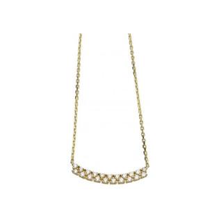 Naszyjnik złoty z drobnymi cyrkoniami FANCY N-0816-7-CZ