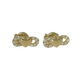 Kolczyki złote serduszko z nieskończonością, sztyft nr MZ V385 próba 585