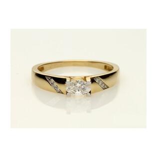 Pierścionek złoty cyrkonia owalna+paski cyrkoni b nr DJ PREMIUM29 próba 585