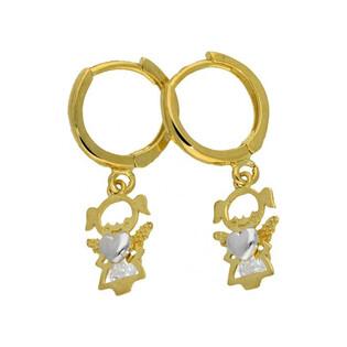 Kolczyki złote aniołki nr AR 205992-YW-FCZ Au 333