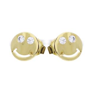 Kolczyki złote w kształcie buźki uśmiechniętej MZ ES516-CZ Au 333