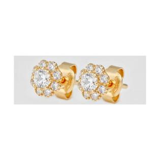 Kolczyki złote dla dziewczynki kwiatki z cyrkoniami nr MZ T5-D913 próba 585 Sezam - 1