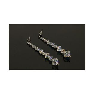 Srebrne kolczyki wiszące GRACE z kryształkami RD R9-1 próba 925 Sezam - 1