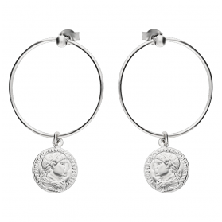 Kolczyki srebrne moneta ruchoma na kole 25mm PW 180 próba 925