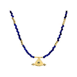 Naszyjnik srebrny pozłacany z niebieskimi agatami i trójkątem nr EM12-1 szafir próba 925