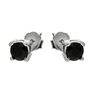 Kolczyki srebrne cyrkonia czarna 4mm AT-213-C-3 próba 925
