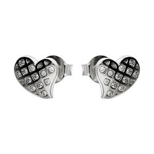 Komplet serce bokiem z cyrkoniami w kracie srebre kolczyki i zawieszka AT-251 próba 925