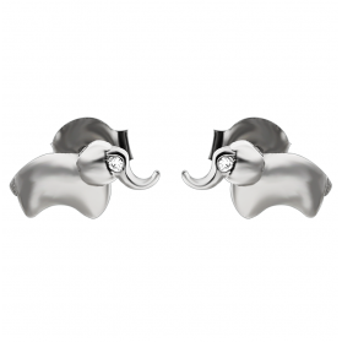 Komplet słoń srebrne kolczyki i zawieszka AT-228 próba 925