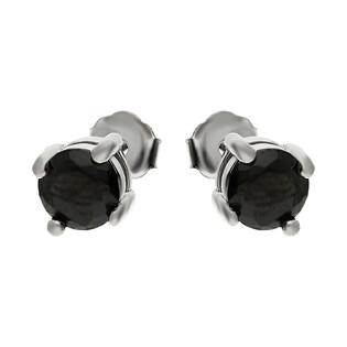 Kolczyki srebrne cyrkonia czarna 5 mm/sztyft AT-213-C-1 próba 925
