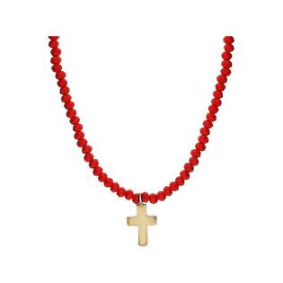Naszyjnik pozłacany krzyżyk z czerwonymi agatami JA 021-G KOR JA235 próba 925
