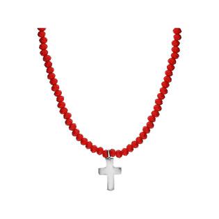 Naszyjnik krzyżyk blask z czerwonymi agatami JA 021-R KOR JA235 próba 925