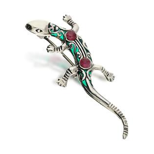 Broszka srebrna jaszczurka z witrażem z kolekcji Zahira SR 321 próba 925