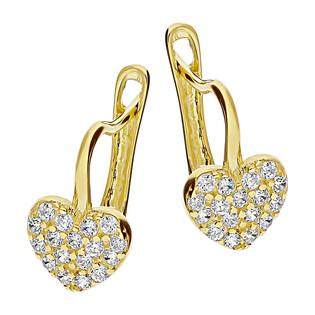 Kolczyki złote serce z cyrkoniami dla dziewczynki MZ T5-E-CK32-CZ próba 585