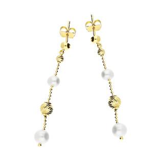 Kolczyki z białymi perłami i grawerowanymi kulkami AR KR(6-4)BCE0084-DC-PRL próba 585