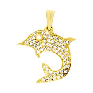 Zawieszka złota delfin płaski wysadzany cyrkoniami M2 49-684-1 próba 585